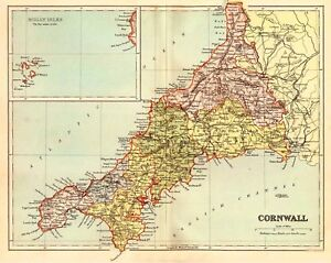 Map Of The County Of Cornwall England Ebay