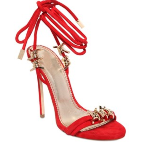 1140 DSQUARED2 7.5 38 Red Babe Barbed Wire Suede Ankle Tie Stiletto Sandals