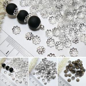Filigrane-Perlenkappen-7mm-8-5mm-EISEN-Farbwahl-BLUME-Endkappen-Perlkappen