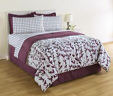 King Size White and Purple Comforter and Sheet Set Floral Bedding