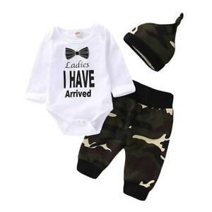 ca3ee880139 Details about 3pcs Newborn Baby Boy Top Romper Bodysuit Jumpsuit Pants Camo Outfit  Clothes Set