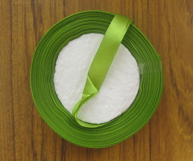 12mm width satin ribbon 25yd 20m roll shades of green clearance slight 2nds