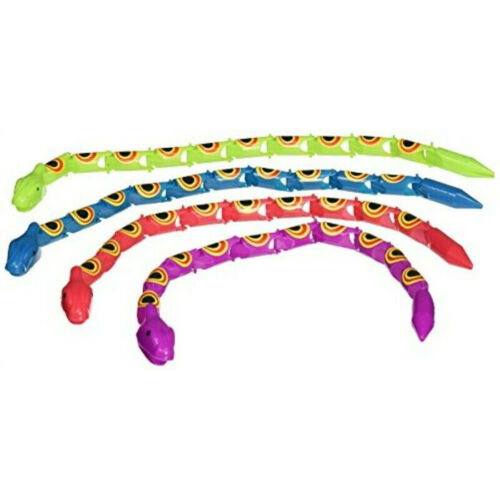Four Wiggle Snakes Zoo Neon Plastic Bright Party Fun Loot Party Bag Animal Toy