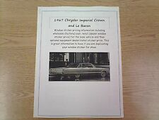 1967 Chrysler Imperial factory cost/dealer sticker prices for car & options $