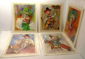Vintage-Michele-Clown-Print-Pictures-Lot-Of-5-Lithograph-Prints-Never-Displayed