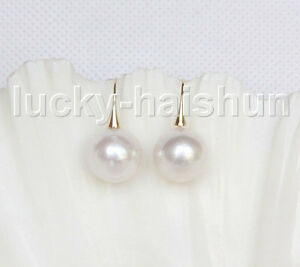 NEW-AAA-14mm-perfect-round-white-South-Sea-pearls-Earrings-14K-Solid-gold-j11593