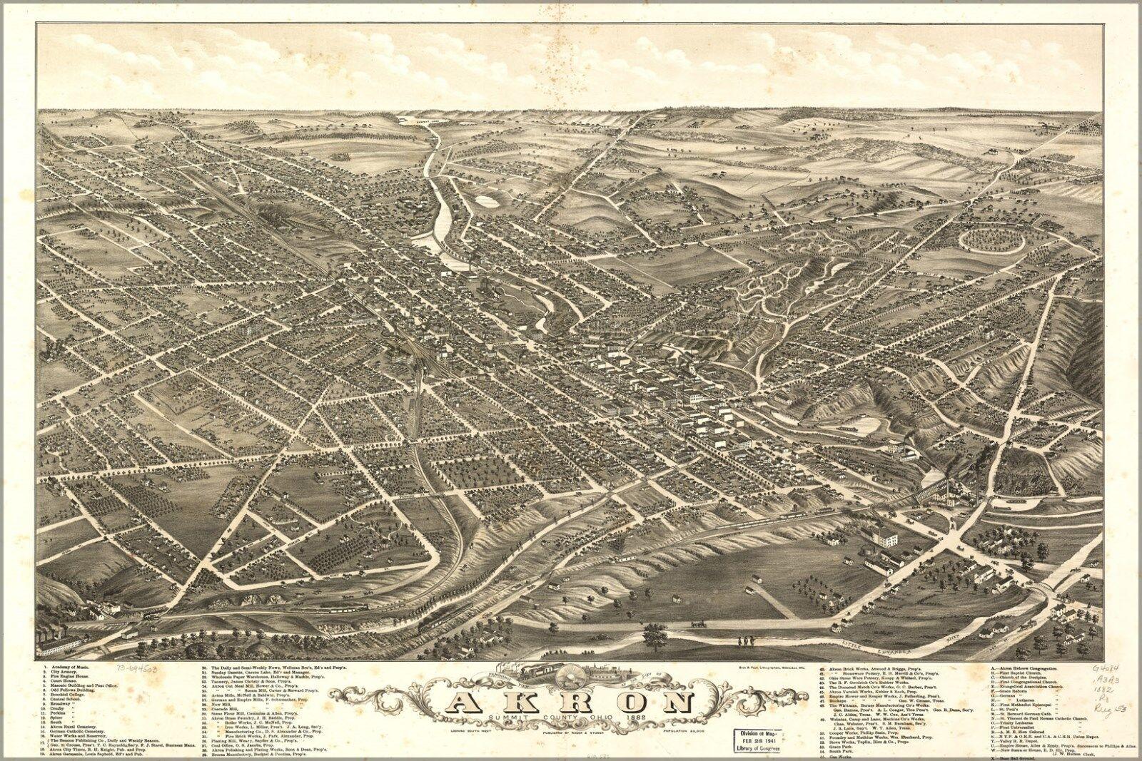 Plakat, Viele Größen; Panoramisch Kkunste von Akron, Ohio 1882