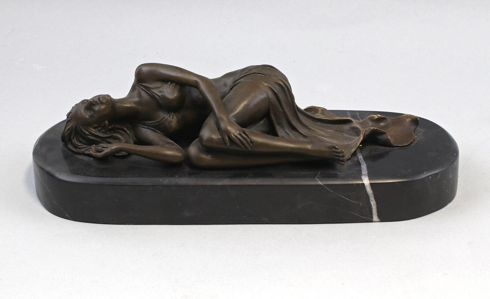 9973188 escultura de bronce dama acto descansan mujer dormida 31x12x10cm