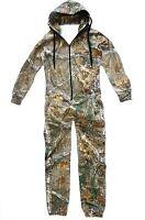Mens Hunters Onesie Gents Camo Zip Hoody Jumpsuit Tree Camouflage All In One Sie