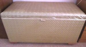 Vintage Gold Lightly Padded Quilted Ottoman Blanket Box Chest