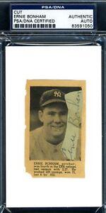 Ernie Tiny Bonham D.49 Psa/dna Authenticated Signed 3x5 Index Cut Autograph