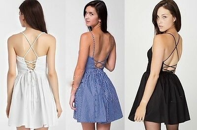American Apparel Criss Cross Strappy Corset Cut out Backless Skater Sun Dress