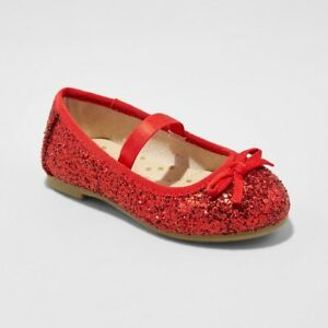CAT   JACK CACEY GIRLS SHOES   SILVER OR RED GLITTER BALLET FLATS ... 311ebb65a2