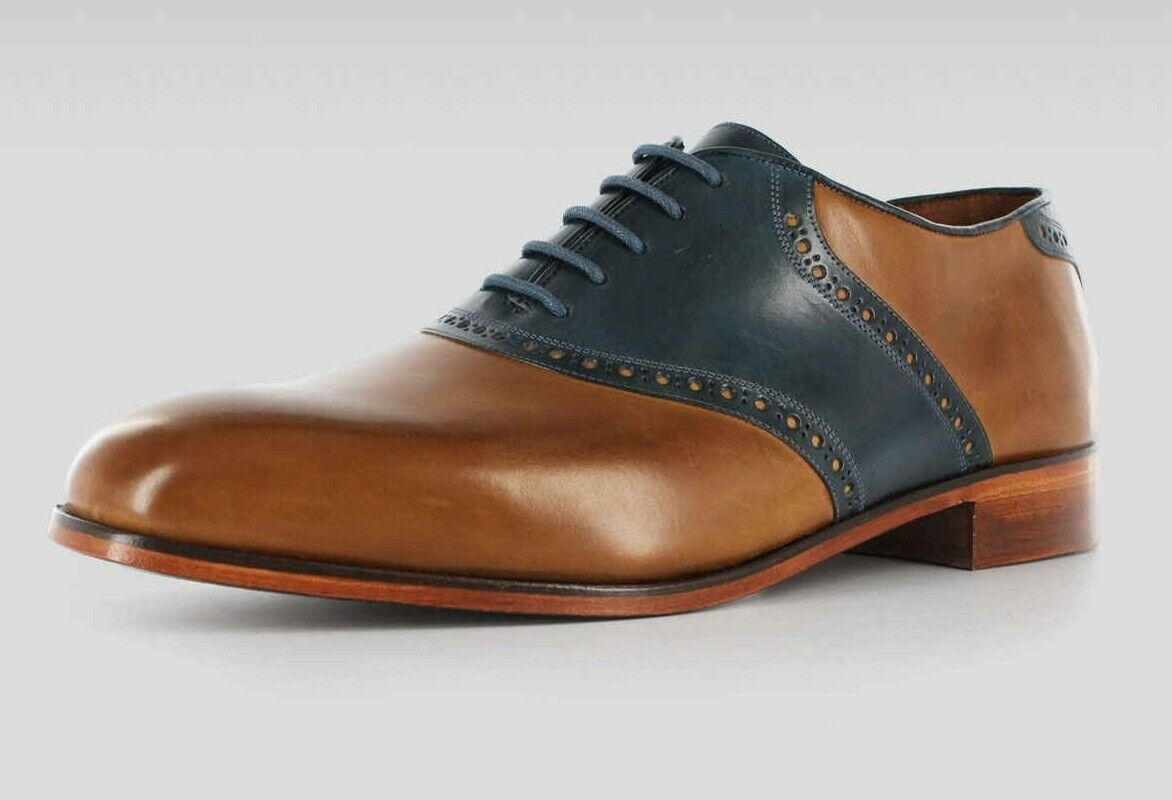 Men's Handmade Two Tone Genuine Tan & Navy bluee Leather Oxford Brogue shoes