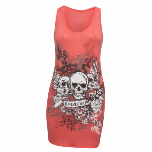 NEW WOMENS LADIES COMIC HERO 3 SKULL PRINTED CREW NECK T-SHIRT VEST UK SIZE 8-26