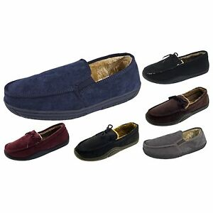 9f13f80368245 Details about Mens Warm Slippers Moccasins Fauxn Suede Sheepskin Fur Lined  Shoes Size 6-11