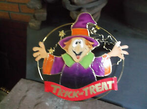 Halloween-Witch-Wall-Door-Decoration-Tin-Trick-or-Treat-Multiple-Colors-8-034