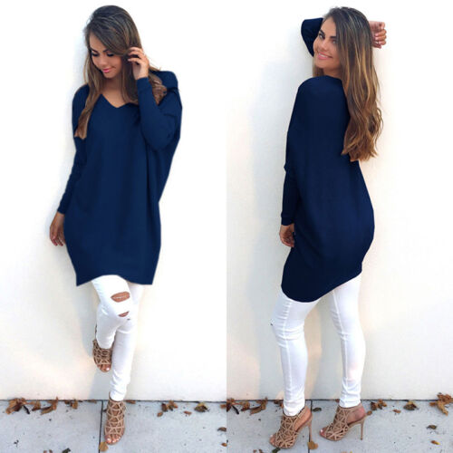 Women Long Sleeve V Neck Loose Knitted Sweater Baggy Casual Jumper Pullover Tops