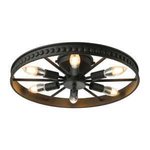 Chandelier Wagon Wheel Farmhouse Lighting Rustic Kitchen Ceiling Lamp Fixture