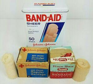 Empty-Band-Aid-Tin-Vintage-Johnson-amp-Johnson-Red-Cross-Rexall-Gauze-Bandages