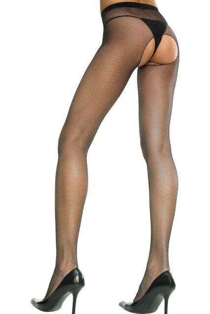 disponibile colore veloce brillante nella lucentezza 901 Music Legs Calze Collant neri in rete aperti al Cavallo Pube fetish