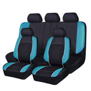Universal Fashion Car Seat Covers Leather Mesh Airbag Blue Breathable Full Set