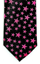Hot Pink Stars Mens Womens Necktie Novelty 2.5 Skinny Slim Thin Neck Tie New