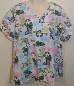 7b8cb33cddf Sesame Street Oscar the Grouch Recycle Womens Size XL Nurse Scrub ...