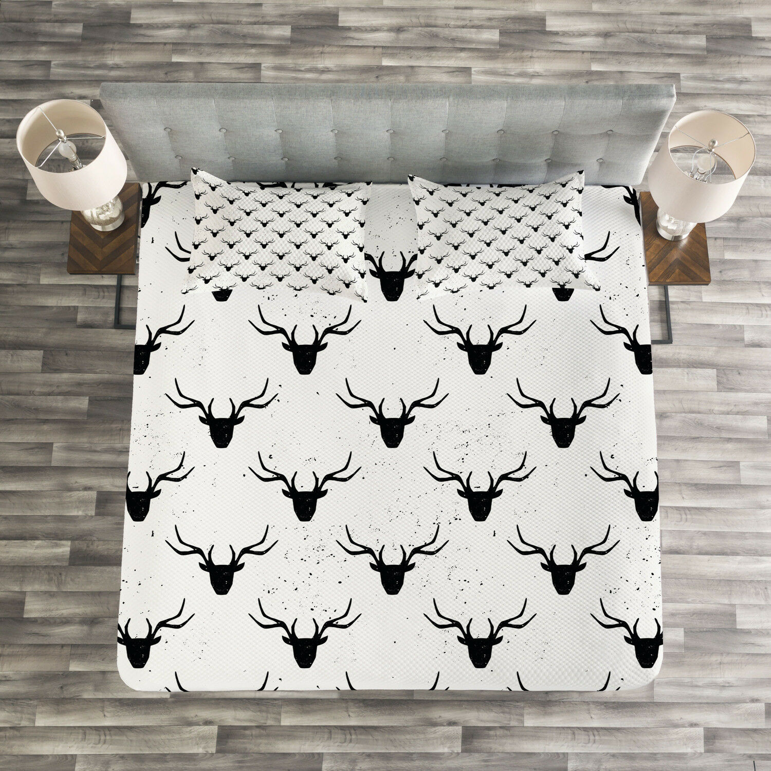 Deer Quilted Bedspread & Pillow Shams Set, Animal Head Silhouettes Print