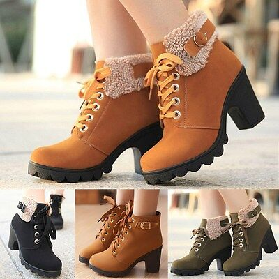 Winter Womens Platform Chunky High Heel Fur Lace Up Motorcycle Ankle Boots Shoes
