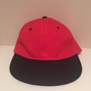 d72d01dbd VTG Red and Black Blank Snapback Hat Adjustable Cap OSFA | eBay