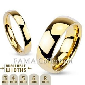 FAMA-Stainless-Steel-Polished-Gold-IP-Traditional-Wedding-Band-Ring-Select-Size
