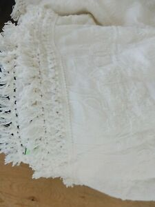 VINTAGE FRENCH FARMHOUSE CHENNILE BEDSPREAD COVERLET FULL QUEEN