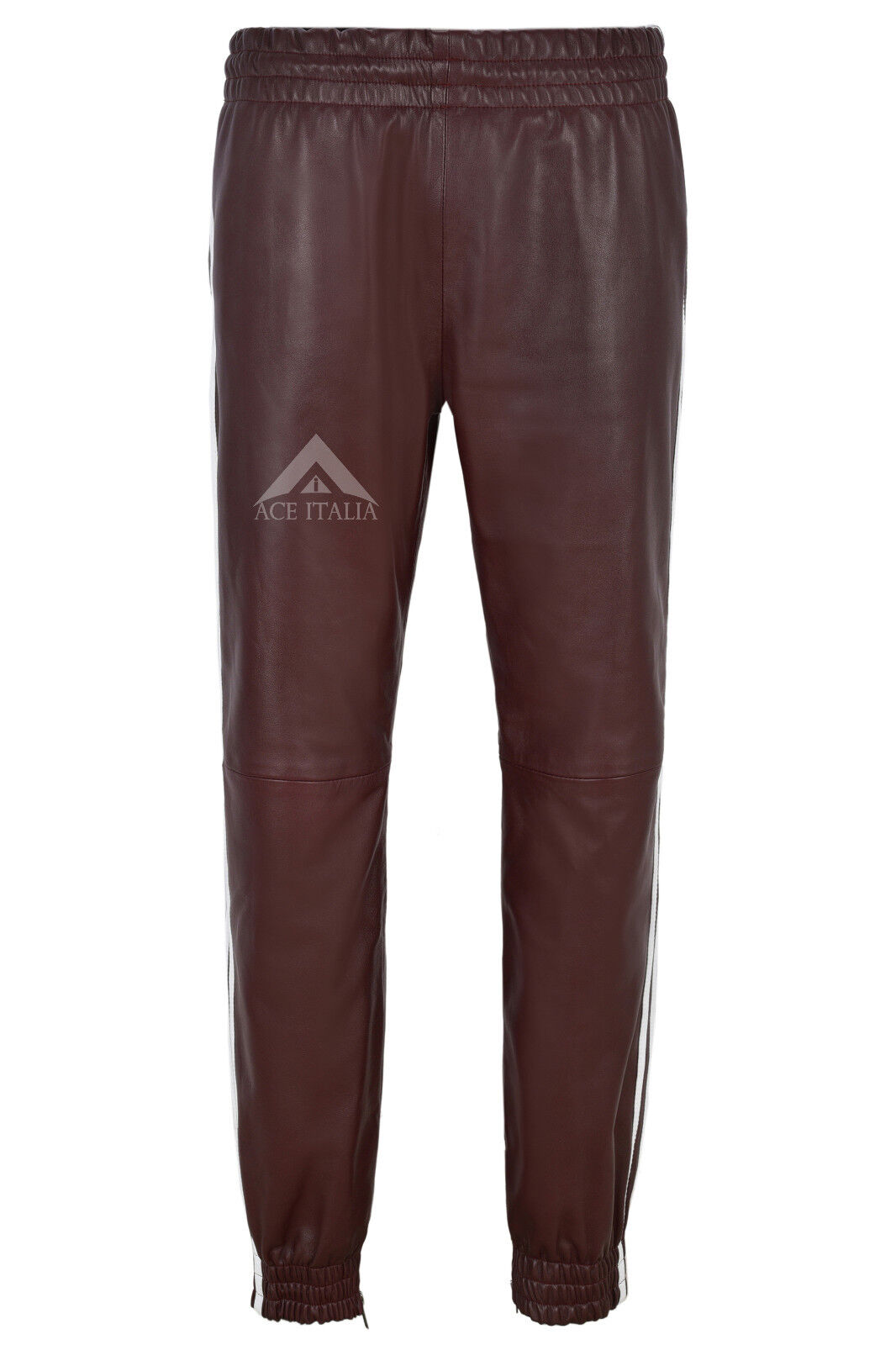Mens Real Leather Trouser Cherry With Weiß Straps Soft Napa Jogging Bottom 4051
