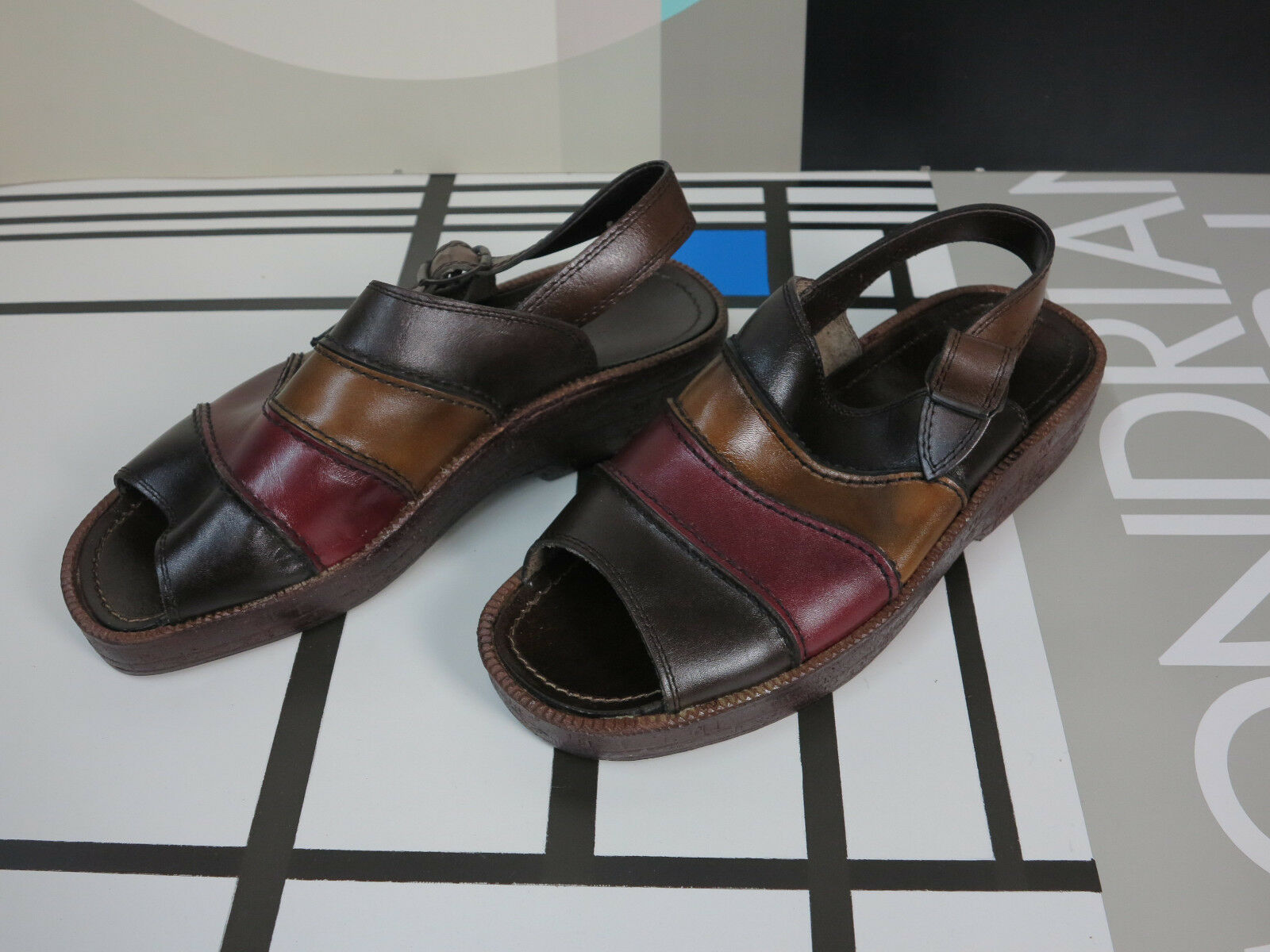 Castello Messieurs Sandale Plateforme 70er truevintage 46 Flops Été Chaussures NOS