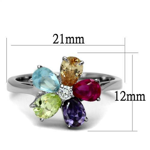 Multi Color Flower Snowflake CZ Stainless Steel Rainbow Ring