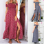Women-039-s-Summer-Casual-Off-Shoulder-Floral-Long-Slits-Maxi-Dress-Beach-Sundress thumbnail 2