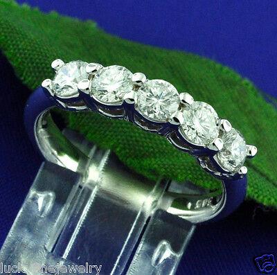 1.20  ct ladies DIAMOND RING BAND anniversary ring WHITE GOLD 5 STONE BAND