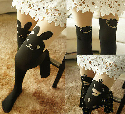 Japan Women Cute Rabbit Bunny Penguin Tail High Tattoo Stocking Pantyhose Tights