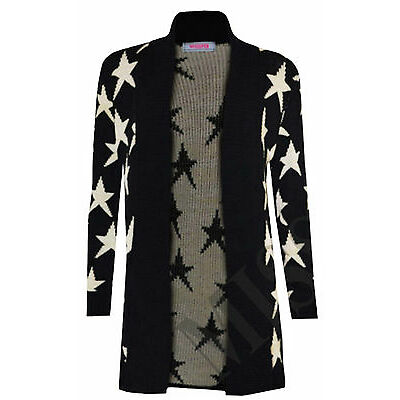 New Womens Ladies Star Printed Knitted Long Sleeve Jumper Open Cardigan S M L XL