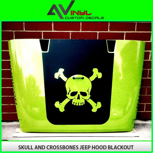 Hood Blackout Skull & Crossbones Decal Matte Black Out kit Jeep Wrangler TJ