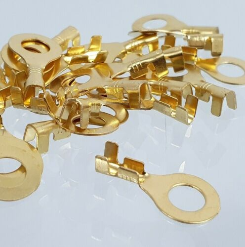 100 x m6 2,5 mm² GLD 250 ° C cable de anillo zapatos de latón Crimp coche resistente al calor de
