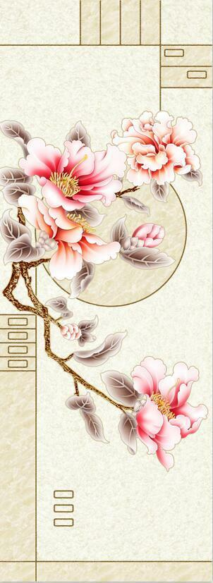 3D Texture pink flowers line Wall Paper Print Decal Wall Deco Indoor wall Mural