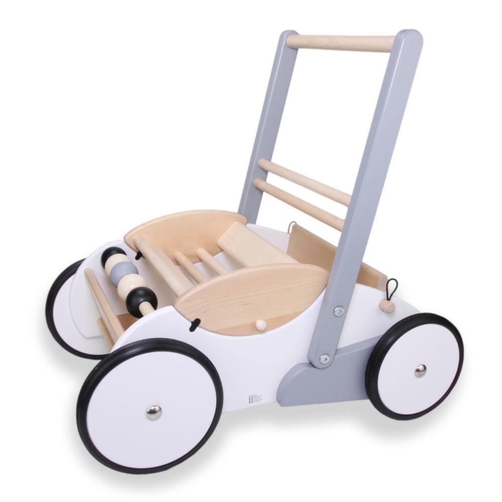 Bajo Lauflernwagen Holz weiß Lauflernhilfe Puppenwagen kippsicher mit Bremse