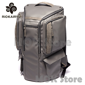 Riokairyu-HEXA-All-Mens-Backpack-Leather-Cool-Large-Book-pack-Camera-bag-Gray