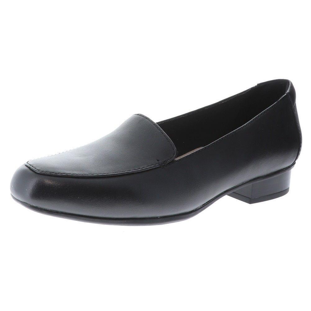Damen Clarks Schwarzes Leder Hineinschlüpfen Schuh Juliet Lora