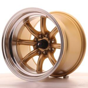 4x japan racing jr19 15x10 5 et 32 4x100 114 gold alloy wheels rs