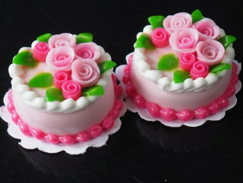 Dollhouse Miniature 2 Strawberry Cakes Rose Top Bakery Food Supply Décor 20 mm