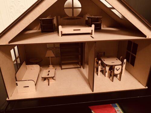Casa De Muñecas Con Muebles Set embalado plana