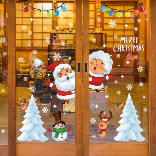 Christmas Snowflake Wall Sticker Xmas Tree Santa Claus Window Decal Decoration